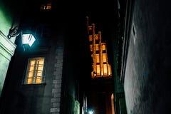 Secteur de touristes de la vieille ville dans la nuit Warshawa Images libres de droits