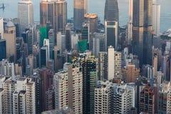 Secteur du centre de résidence de ville de Hong Kong, vue aérienne au-dessus de Victori Image stock