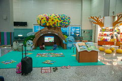 Secteur du terrain de jeu des enfants de terminal d'aéroport international de Taoyuan Photos stock