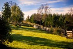 Secteur extérieur gentil avec de vieilles barrières en bois faites d'arbres image libre de droits