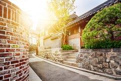 Secteur historique de Bukchon Hanok à Séoul au coucher du soleil, Corée du Sud Photo stock
