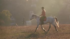 Secteur privé avec des maisons et cavalier montant un cheval Mouvement lent banque de vidéos