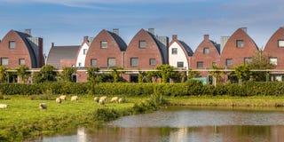 Secteur suburbain avec les maisons modernes de famille dans le domaine images stock