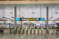 Secteur terminal de porte de départ d'aéroport international d'Oslo Gardermoen Image stock