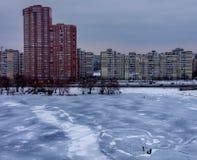 Secteurs de residentional de Kiev, jour nuageux, extérieur Photographie stock libre de droits