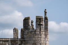 Sectie van de historische muur rond de stad van York, Yorkshire, het UK stock fotografie