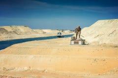 Sectie van het kanaal van de het Kanaaluitbreiding van Suez, in Augustus 2015 wordt geopend die Stock Fotografie