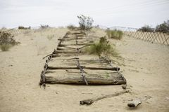 Sectie van Historische Plankweg dichtbij Yuma stock afbeeldingen