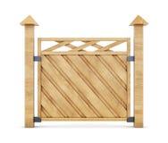 Sectie van houten omheining op een witte achtergrond het 3d teruggeven Stock Foto