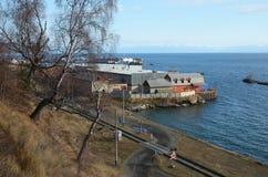 Sectie van Spoorweg circum-Baikal in de post van Havenbaikal stock foto's