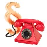 Sectiesymbool met telefoon Het juridische 3D advies en vragen, geven terug royalty-vrije illustratie