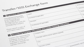 Section 1035 Exchange Paper Form Stock Photo