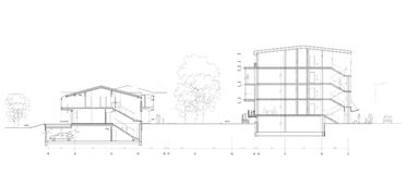 Section. Drawing: the modern living house section Stock Images