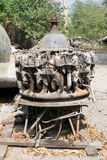 Section of airplane engine. A section of old airplane engine with nature background stock photography