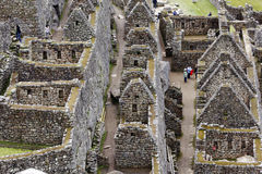 A section of the ancient ruins at  Machu Picchu, Peru. Royalty Free Stock Photography