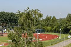 Section of athletics running track stock images