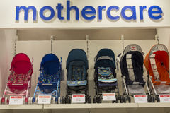 Section of baby carriages Mothercare in supermarket Siam Paragon. Bangkok, Thailand Royalty Free Stock Photos
