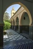 A section of the beautiful courtyard at the Mausoleum of Moulay Ismail in Meknes, Morocco. Moulay Ismail is considered one of Morocco's greatest rulers, who stock image