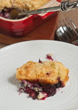 Section of blackberry cobbler on white plate. Section of blackberry cobbler on a round,white plate with a heat resistant bowl of cobbler with artisan spoon and a royalty free stock photography