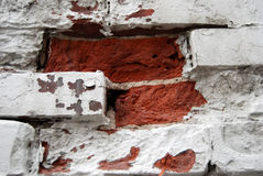 Section of brick wall. Close up on a section of a broken brick wall Stock Image