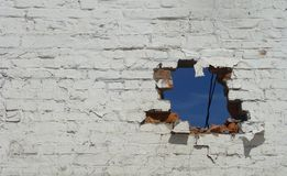 Section of a brick wall with a hole in it Royalty Free Stock Images