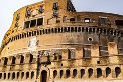 Castel Sant`Angelo Mausoleum of Hadrian - Castle of the Holy Angel a towering cylindrical building in Parco Adriano, Rome royalty free stock photography