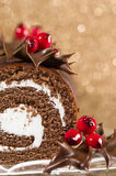 Section Of Christmas Cake Stock Image