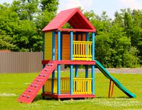 Section of Colorful Wooden Children's Playground stock image