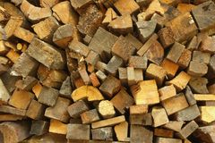Section of cut firewood pile.  Royalty Free Stock Photography