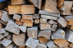 Section of a cut pile of firewood Stock Photos