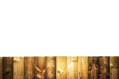 Section d'une barrière en bois de panneau d'isolement sur le blanc Image stock