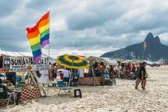 Section de LGBT de plage dans Ipanema, Rio de Janeiro, Brésil Photos stock