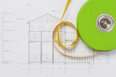 Section Drawing designed building. Stock Photos