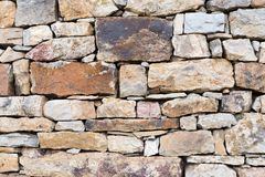 Dry stone wall background. Section of dry stone wall made of various sized stones Stock Photography