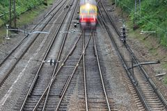 A section of an electrified railway Royalty Free Stock Photo