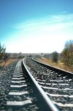 Railway in rural areas. Section of electrified railway in rural areas stock images