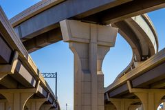 Section of elevated highway with several levels against a bright blue sky in Houston, Texas stock photos