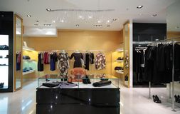 Section of female  clothing in shop. Section of female  clothing in modern shop Stock Photos
