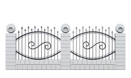 Section of fence  on white background Royalty Free Stock Photography