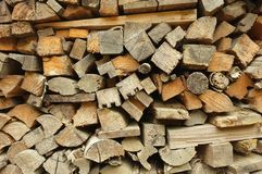 Section of a firewood pile. Showing cut ends Stock Photo