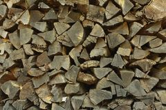 Section of firewood pile showing cut ends Royalty Free Stock Photos