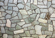 Section of flagstone wall with varying shapes Royalty Free Stock Photos