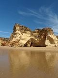 The idyllic Praia de Rocha beach on the Algarve region. Stock Photo