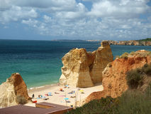 The idyllic Praia de Rocha beach on the Algarve region. Royalty Free Stock Photo