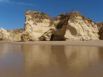 The idyllic Praia de Rocha beach on the Algarve region. Stock Image
