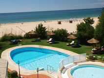 The idyllic Praia de Rocha beach on the Algarve region. Royalty Free Stock Photography