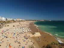 The idyllic Praia de Rocha beach on the Algarve region. Stock Photography