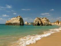 The idyllic Praia de Rocha beach on the Algarve region. Royalty Free Stock Image