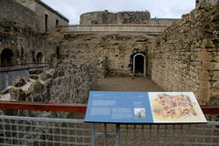 Section of King John's Castle, where people can wander around courtyard and learn history,Limerick,Ireland,October,2014. Historic remains of courtyard, where Royalty Free Stock Photos