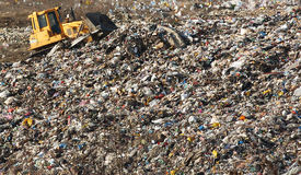 A section of a landfill located in Sofia, Bulgaria. Though forbidden this way for the municipality garbage, still exists Royalty Free Stock Image